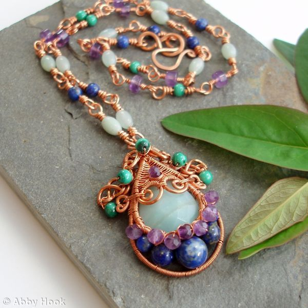 Gorgon Layered Woven Pendant with handmade Copper necklace - Amazonite, Amethyst, Malachite, Lapis Lazuli and Copper wire