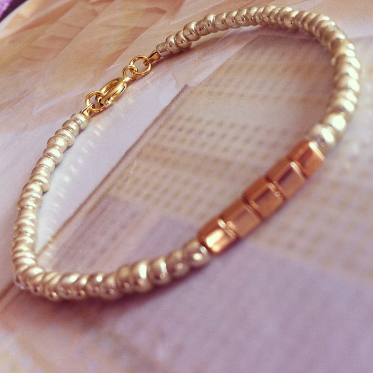 Gold beaded bracelet with rosegold cube beads. Handmade. Available at www.amourose.etsy.com