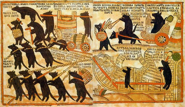nobrashfestivity:   Russian folk art, 1760s., Mice Burying the Cat Woodcut, Pogodin Collection.  Satire of the World turned Upside-Down.