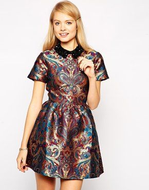 ASOS Skater Dress with Embellished Collar in Jacquard