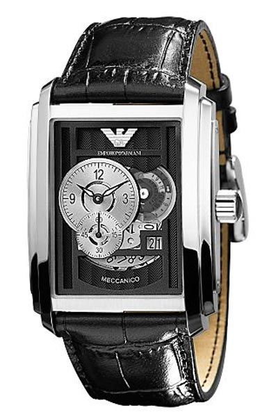 b4fc9ece0e6 Emporio Armani AR4228 Mens Meccanico Automatic Leather Watch 139GBP  armaniemporiowatches.co.uk