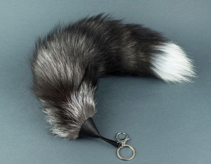 Silver Fox Tail Keychain. Real fox tail. Bag Charm. Fur Keyring. by EvaStudioArt on Etsy https://www.etsy.com/listing/261870409/silver-fox-tail-keychain-real-fox-tail