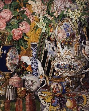 Porcelain and flowers by Aleksandr Yakovlevich Golovin, 1915. The State Tretyakov Gallery, Public Domain