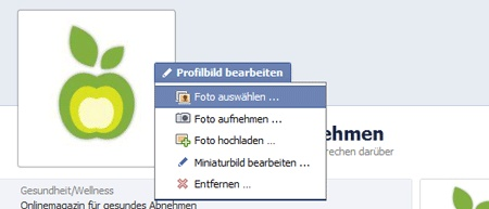 Facebook Profilbild upload 160 x 160 Pixel
