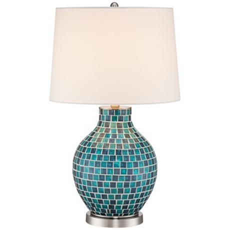Let This Beautiful Teal Blue Glass Mosaic Jar Table Lamp Double As A Piece  Of Art In Your Home. The Jar Style Base Is Covered In Vibrant Teal Blue  Glass ...