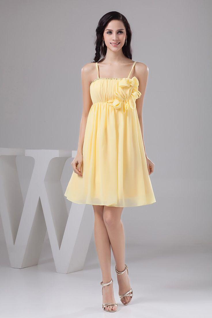 Straps Tea Length Yellow Bridesmaid Dresses