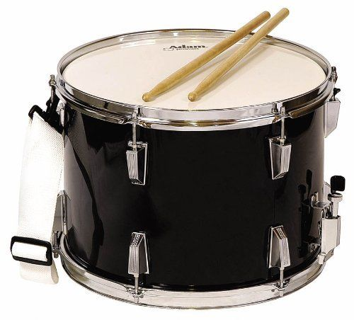 "Adam Percussion Marching Snare Drum - Black by Adam Percussion. $140.57. Marching Snare Drum. Made by Adam Percussion.For marching band drummers Adam Percussion offers a 14""x10"" Snare Drum with drumsticks and straps.. Save 20% Off!"