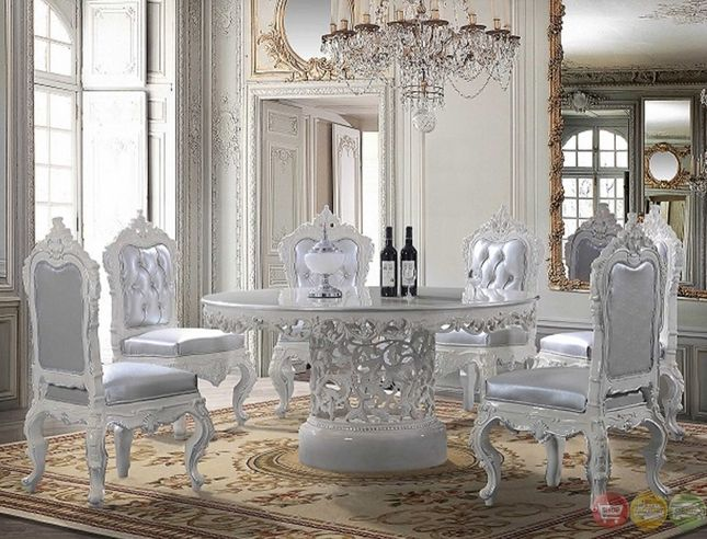 Homey Design  Victorian Round Dining Table With Decorative Center And White  Decorative Wood Trims With Silver Cushion And Fabric Upholstered Back And  Front Part 92
