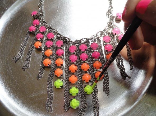 rhinestone necklace, neon paint (or fun summer colors), paintbrush and finish with a coat of clear nail polish