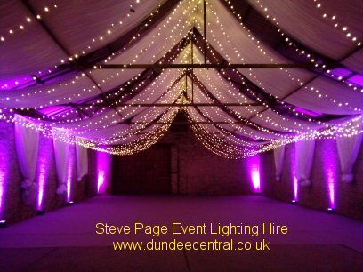 purple uplighters and white fairylight canopy provided by Steve Page: www.dundeecentral.co.uk
