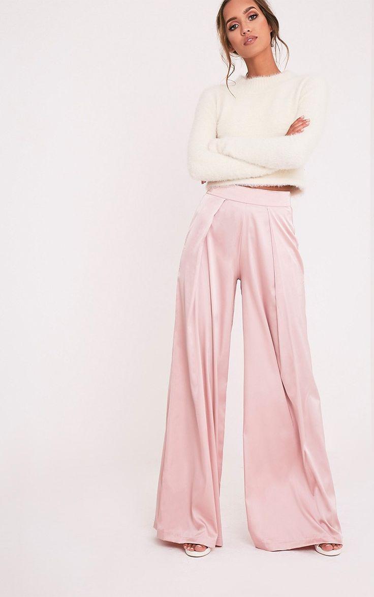 Dasia Dusty Pink Satin Pleated Wide Leg Trousers - Trousers - PrettylittleThing | PrettyLittleThing