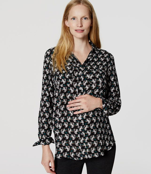 LOFT Maternity Squirrel Utility Blouse