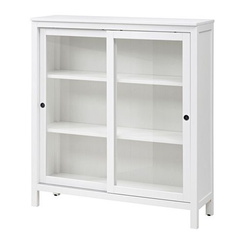 IKEA - HEMNES, Glass-door cabinet, white stain, , Sliding doors do not take up any space when opened.Solid wood has a natural feel.Adjustable feet; stands steady also on an uneven floor.