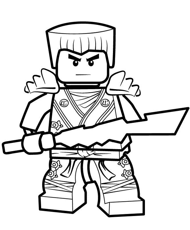 Coloriage et dessin de Ninjago à imprimer - Zane - Coloriage ninja blanc