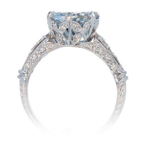 18 Karat White Gold 9mm Round Aquamarine Vintage Crown Design Engagement Anniversary Wedding Ring