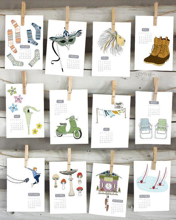 2015 calendar  illustrated wall calendar by sloeginfizz on Etsy