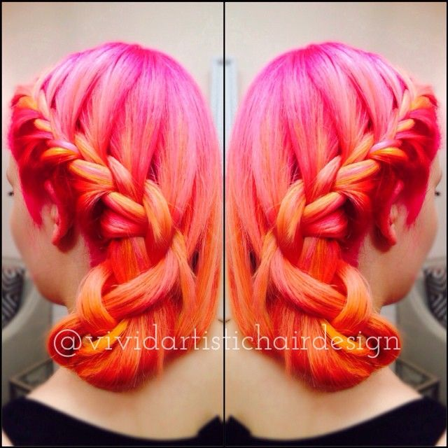 I'm beyond diggin the 'Pink Citrine'  color I demo'd on my model tonight. Slightly obsessed even  #pravana #pinkhair #orangehair #coralhair #yellowhair #colormelt #vivids #neons #braids #olaplex #btcpics #hairdressermagic #vividhair #instahair #fashion #beauty @sugar_salon_spa @behindthechair_com @modernsalon @beautylaunchpad @whocuts @pravana @olaplex