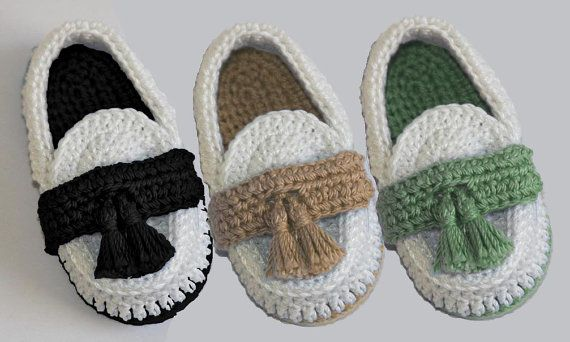 Mocasines de bebé de ganchillo por LeftyStitches en Etsy