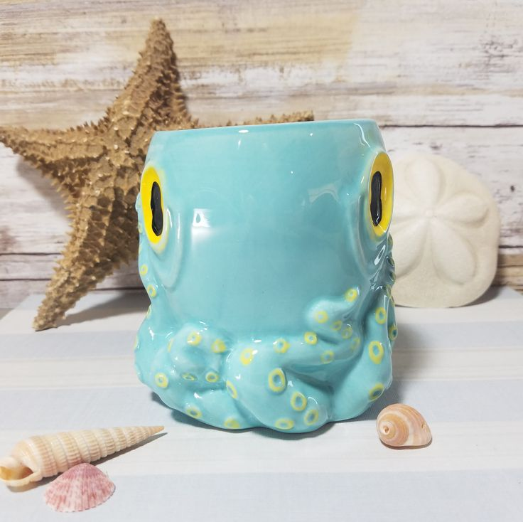 3D Octopus Mug with Tentacle Handle- Nautical Blue Hand Painted 16 oz