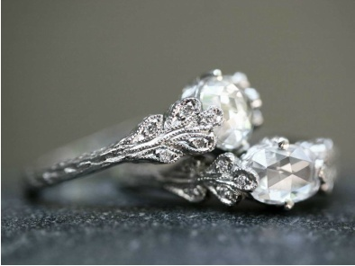 Cathy Waterman, love of my life, rose cut double leaf diamond rings