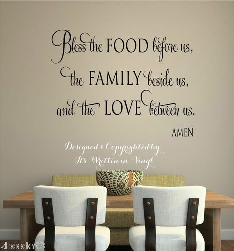 Bless The Food Vinyl Lettering Wall Decal Words Home Kitchen Art Sticker Faith | eBay