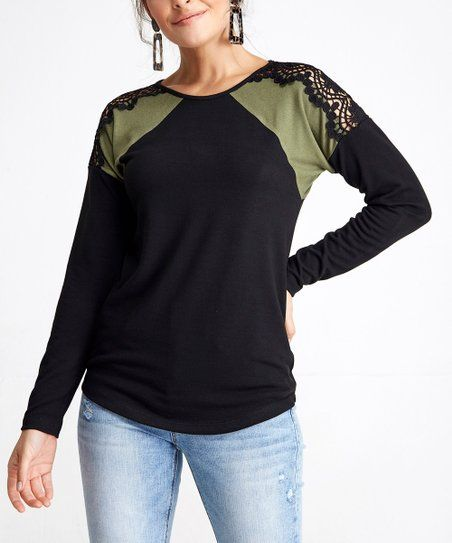 8fb75ecacc1 Milan Kiss Black & Olive Lace-Accent Tunic - Women | Zulily | Long ...