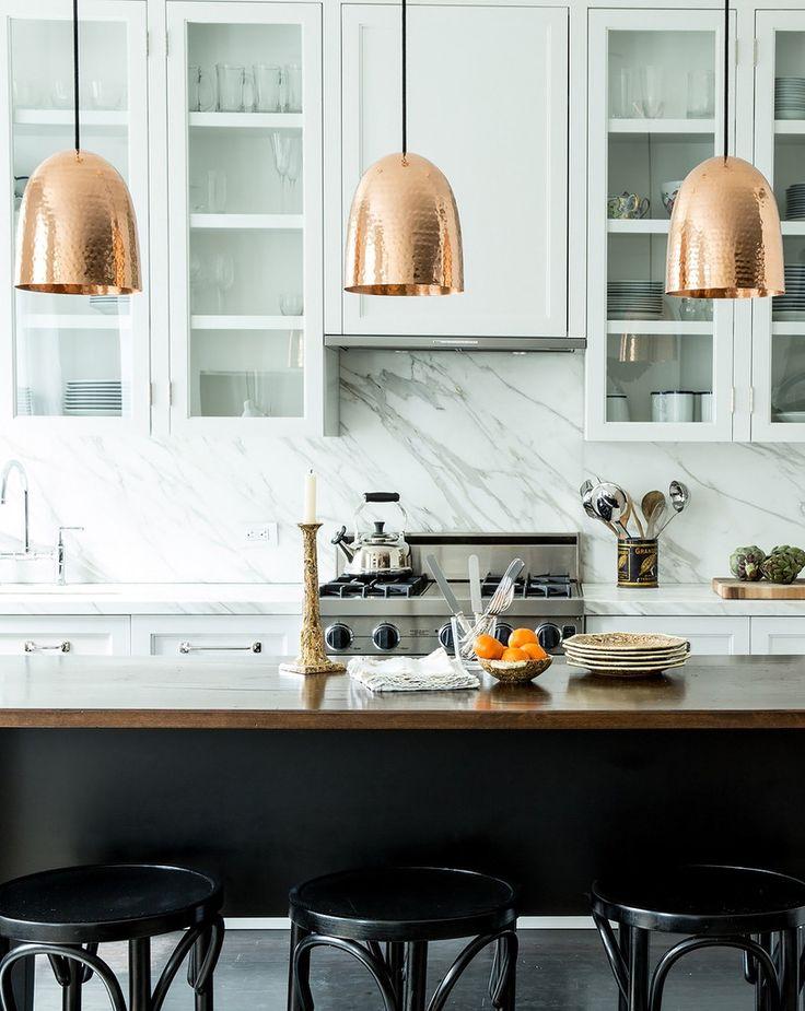 [Home Decor] Marble Backsplash + Bronze Light Pendants via @greigedesign #decor #design #kitchen