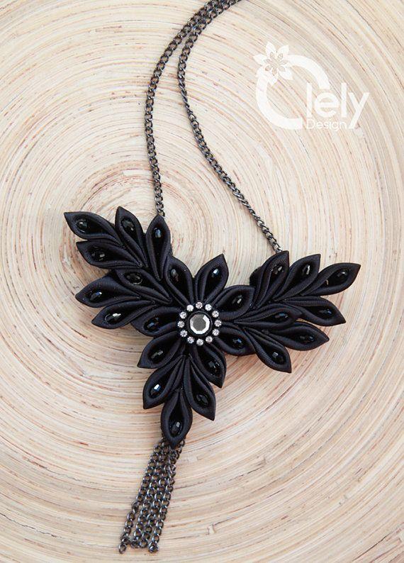 Black necklace statement necklace kanzashi by OlelyDesign on Etsy