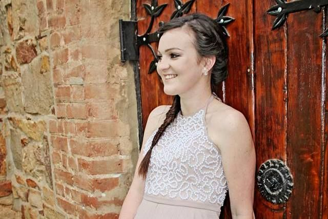 Nude Prom dress with pearl bodice detail #IngeCoetzerDesignerStudio