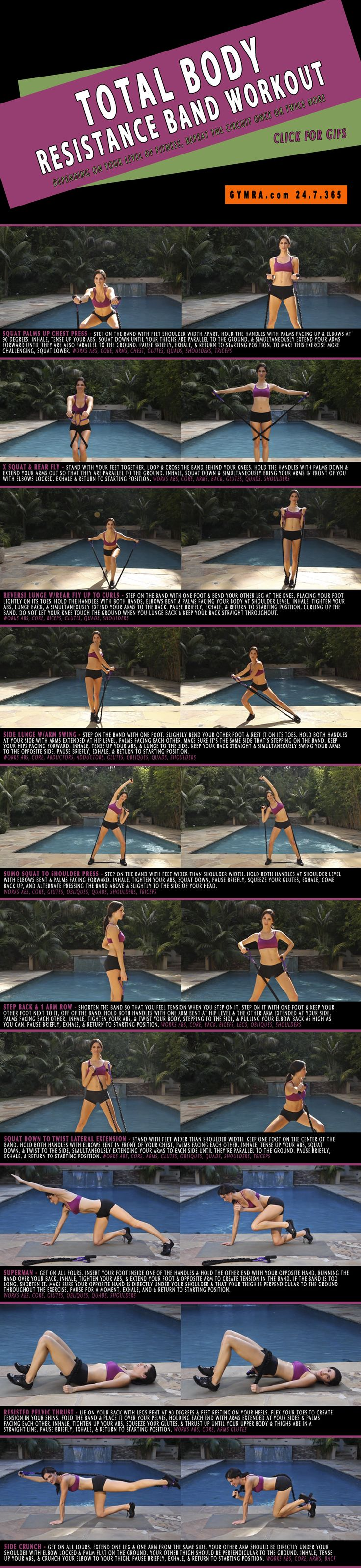 Total Body Resistance Band Workout. Great for Strengthening. Click image to see the exercises in GIF form.