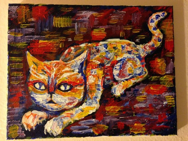 """1000 CATS # 995  Acrylic on Canvas, 8""x10""    jack larson #Abstract"