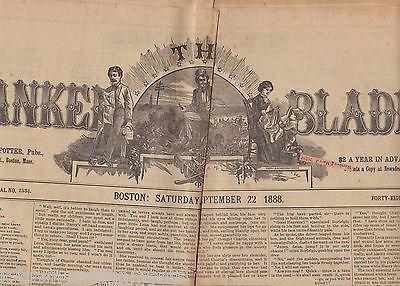 THE YANKEE BLADE BOSTON NEW ENGLAND ANTIQUE NEWSPAPER SEPTEMBER 22 1888
