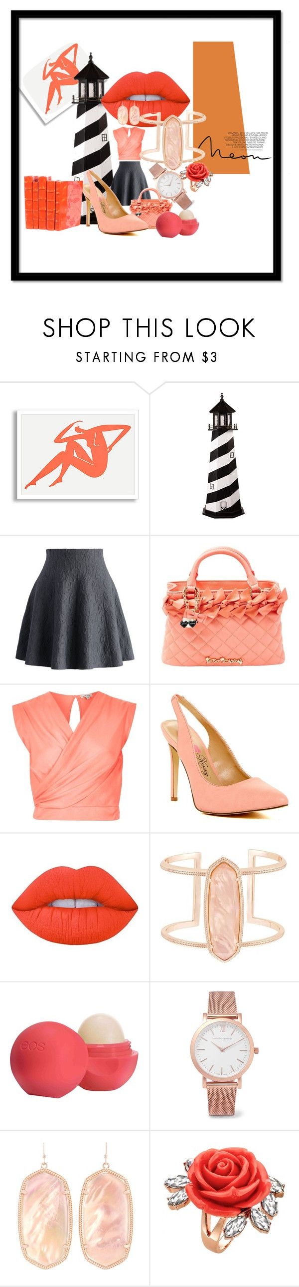 """Everything's Peachy"" by tonifowler1966 ❤ liked on Polyvore featuring DutchCrafters, Chicwish, Betsey Johnson, River Island, Penny Loves Kenny, Lime Crime, Kendra Scott, Eos, Larsson & Jennings and Mawi"