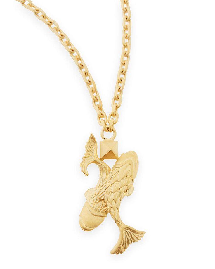Golden Pisces Zodiac Necklace, ...