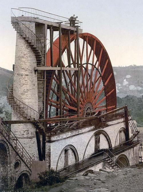 The Great Laxey Wheel (also known as Lady Isabella) the world's largest waterwheel, built on the Isle of Man in 1854.