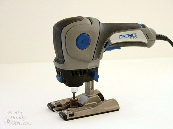 How to use a Dremel TRIO-- Router, Jigsaw and regular dremel tool. Lots of different bits can fit into this. by Pamela Joy