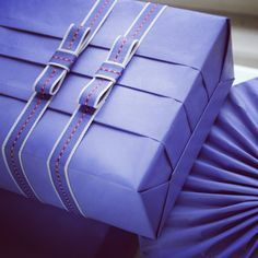 Gift Wrapping Inspiration * Folding your gift wrap for added detail, monochromatic bow and ribbon.