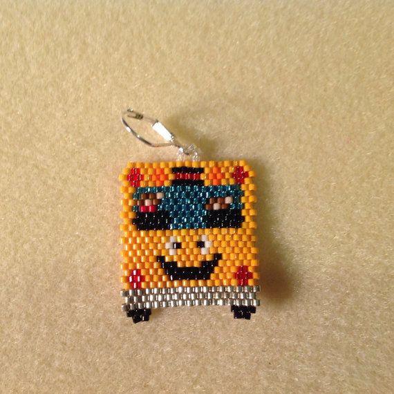 School Bus Cute Beaded Earrings by Bead4Fun on Etsy