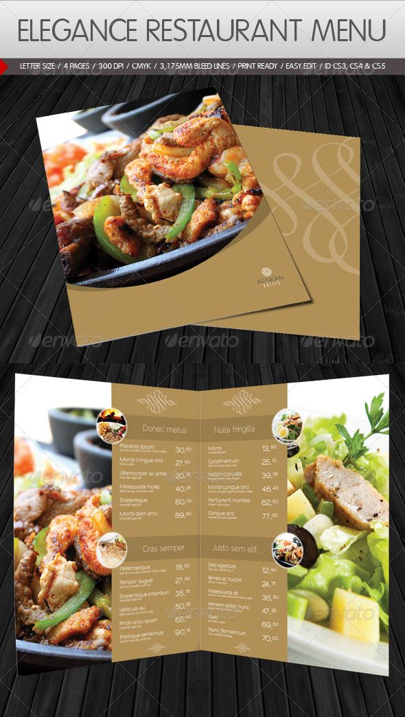 Elegance Restaurant Menu    Modern elegance menu template for hotels or restaurants etc. Easy to change text, images and document guide included as well.