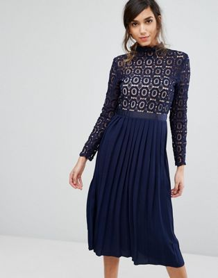 "Little Mistress Premium lace pleated midi dress - Model wears a UK 8/EU 36/US 4 and is 176cm/5'9.5"" tall"