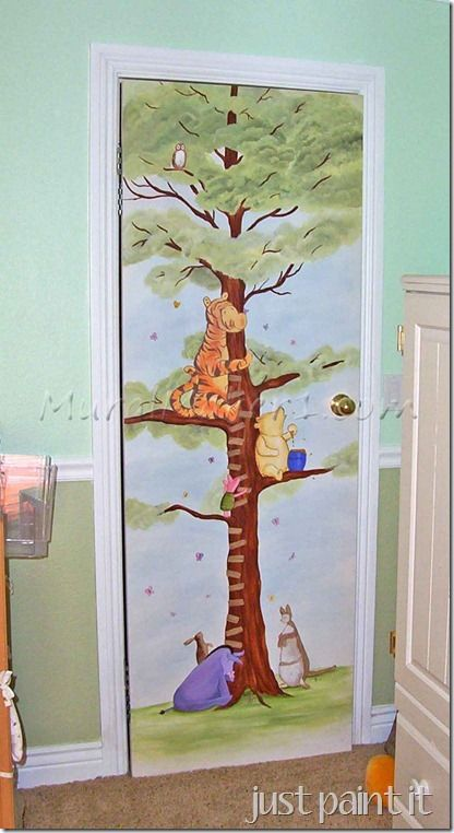 Pooh growth chart on closet door painted wall closet for Classic pooh wall mural