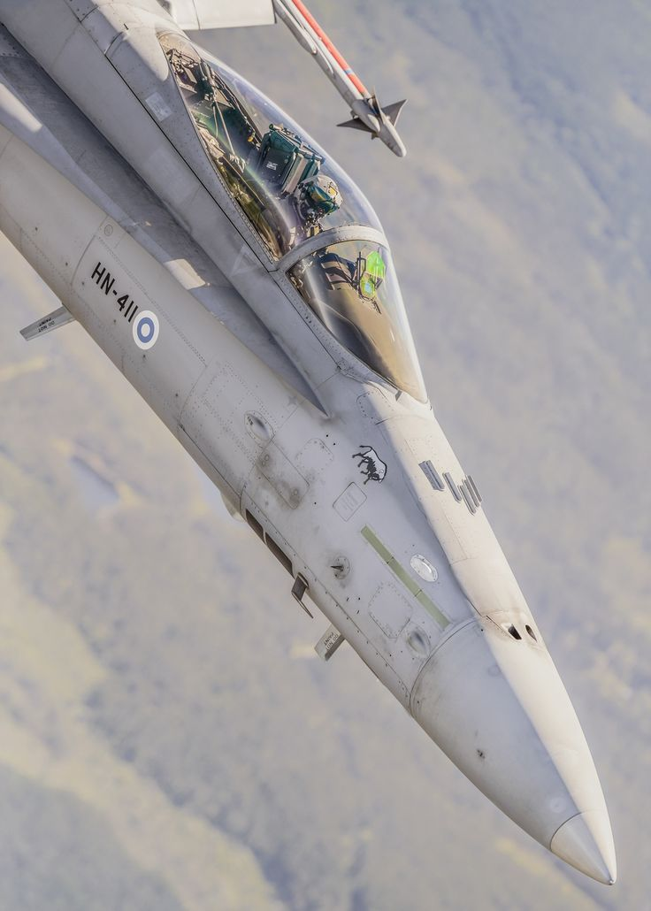 """perforated-past: """" eyestothe-skies: """"  Finnish Air Force F-18 Hornet """" Incredible close-up shot! """""""