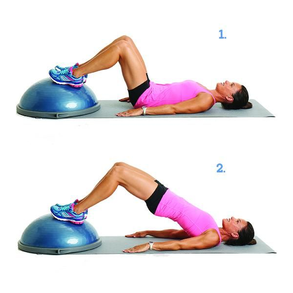 Moves That Target Cellulite: Hip Bridge - Lie on your back with knees bent and feet on top of a BOSU Balance Trainer (if you don't have a BOSU, keep your feet on the floor). Raise hips so that knees, hips, and chest are in a straight line. Squeeze butt muscles and keep knees in line with hips. Hold for about 3 seconds, then lower hips to the starting position. Repeat 15 times.