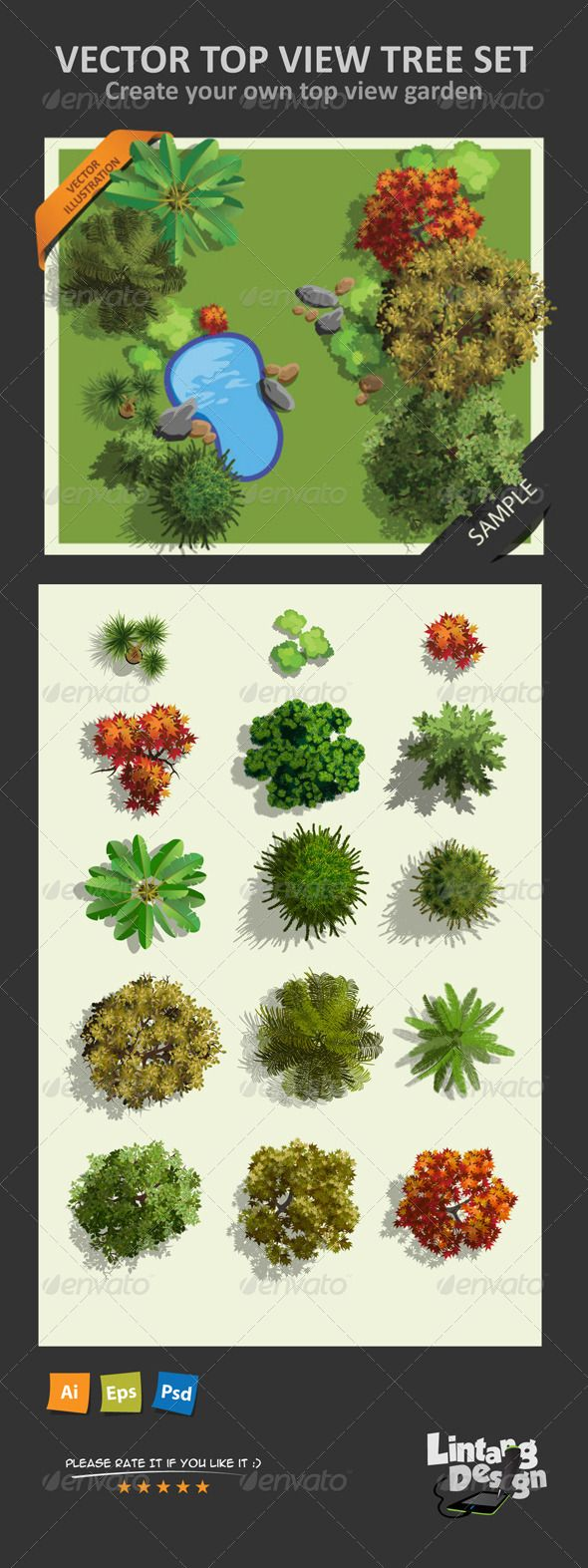 Top View Tree Set 01 http://graphicriver.net/item/top-view-tree-set-01/8158419?ref=damiamio This pack is content of Top view Tree Illustration vector, available in 15 Trees top view, This package is very useful to complement the image of your top view map or your master plan map. It's also available in any following graphic format: - In AI CS 3 format (100% Vector) - In EPS Illustrator 10 format (100% Vector) - In PSD format ( 1550×1550 pixel , 300dpi ) For more Top View Map Element you also…