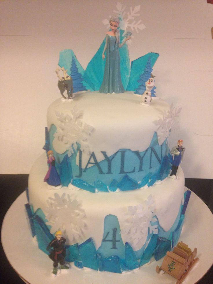 Disney Frozen cake with sugar ice shards