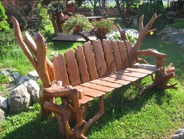 Holz Gartenbank Rustikal Sch 246 Ne Gartendekoration Mit