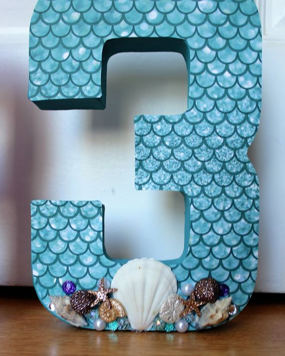 Little Mermaid 3rd Birthday Party 3D Centerpieces. Maybe do their first initial.