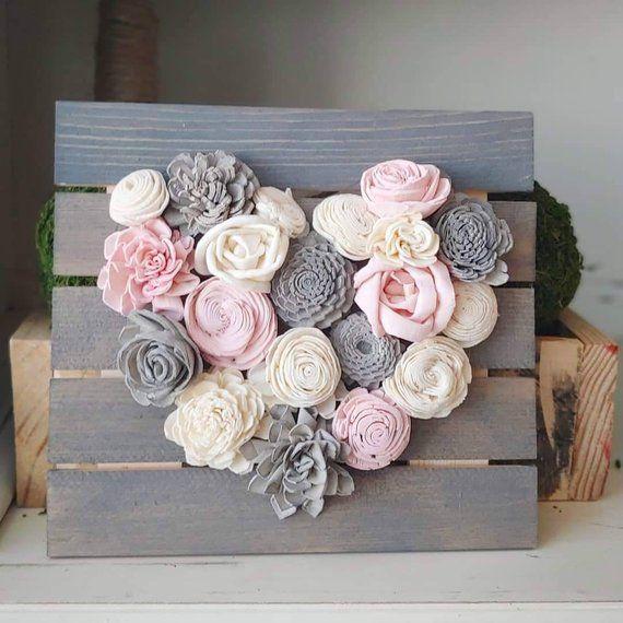 Pink and Gray Mini Wood Flowers Heart Board, Sola Wood Flowers, Baby girl, Nursery Decor, Wedding Decor, Housewarming Gifts, Farmhouse Style