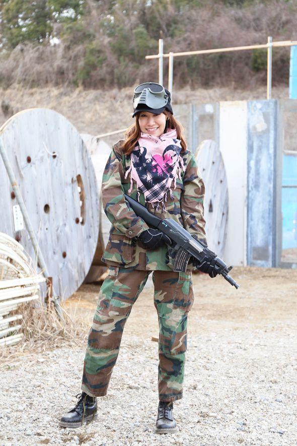Airsoft Palyer in Japan. Fashion Photo Woman. Woodland ...