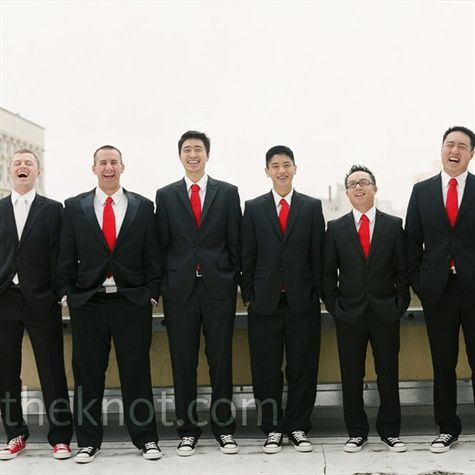 groom/groomsmen: Wedding Inspiration, Groomsmen Idea, Wedding Ideas, Red Ties, Groomsmen Wore, Black Suits, Groomsmen Outfits Minus, Groom Groomsmen